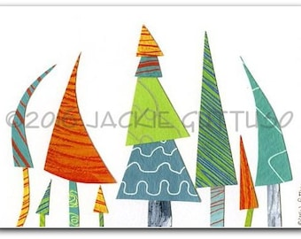 """Colorful tree art print, 5 x 7"""" giclee, Whimsical tree collage, Woodland nursery wall art, Acrylic painting print, Cabin decor, Forest art"""