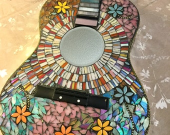 Mosaic Guitar, Full sized Guitar, BOHO, Stained Glass