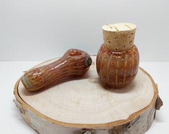 Handmade Matching Glass Pipe and Jar Set , Smoking Pipe, Pipe and Jar, Heavy Glass Pipe, Inside Out Pipe, Color Changing Pipe, Stash Jar