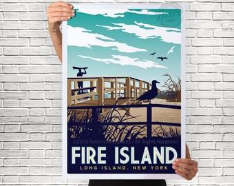 Fire Island Poster  Long Island New York Beach Boardwalk Surfer