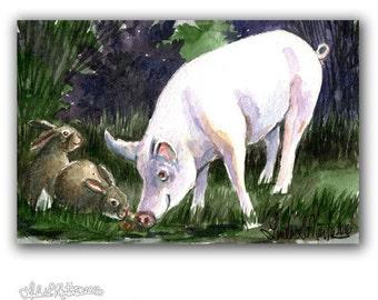 Pig Bunnies Warm Winter Flurries LLMartin Original Watercolor Painting- Virginia Country Rabbits