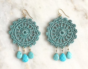 Green turquoise handmade crochet statement earrings, turquoise semi-precious
