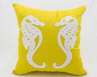 Sea Horse Pillow Cover, Nautical Pillow, Yellow Linen white Sea horse embroidery, Coastal Decor, Sea life Pillow, Beach house cushion
