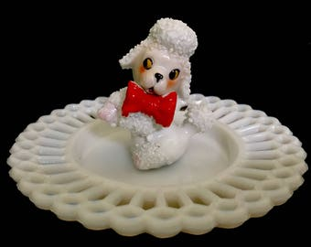 Upcycled/Hand-crafted/Vintage Poodle Ringholder/Trinket Dish/Ring Dish/Poodle Pups/Valentine's Day/Free Shipping