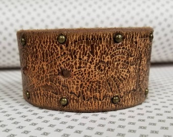 Jkleathers brown stud leather cuff hand stamped optional wear your story bracelet custom personalized