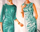 RESERVED Vintage Style 1960s Wiggle Feature Dress Side Pleat Bust 38 Rare Sewing Pattern