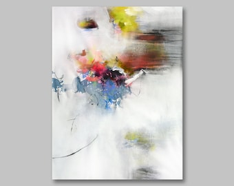 Original acrylic abstract painting, UNSTRETCHED, abstract art, canvas painting, acrylic colorful painting, yellow brown pink blue