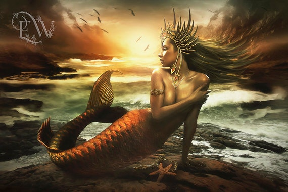 fantasy mermaid art print by Enchanted Whispers