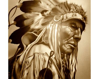 """Old Cheyenne - 13"""" x 19"""" Signed, Giclée Print on German Etching Paper"""