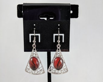 Triangle Dangle Earrings - Red and Black