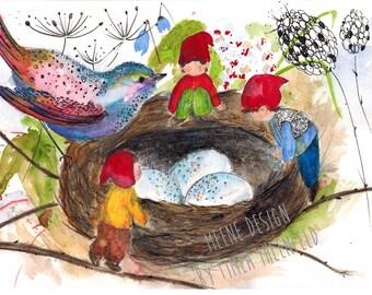 Magic Bird * Postcard illustration