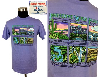 Vintage 80s - 90s Preserve Wild Places T-Shirt LARGE // Conservation // Outdoors // National Park // Hiking // Camping // Nature // 1980s
