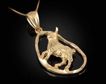 Gold Taurus Sign DC Pendant Necklace (yellow, white, rose gold, 10K, 14K)