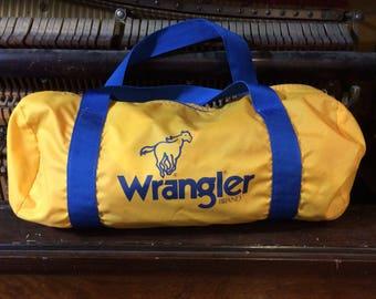 1980s Vintage Wrangler Duffle Bag - Gym Bag - Yellow and Blue