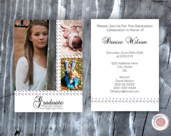 Digital Graduation Invitation, Announcement, Photo Invitation, Class Of, Graduate, Made to Order, Custom