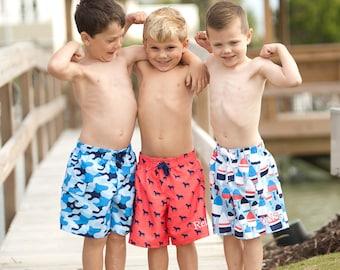 Monogrammed Swim Trunks Boys Toddler Shorts Swimsuit Kids Bathing Suit