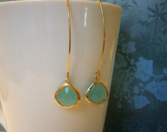 Mint Aqua Earrings, Gold Earrings, Wife Gift, Girlfriend, Best Friend, Mom, Sister, Daughter, Mother