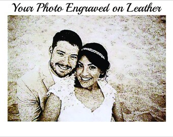 3rd Anniversary Gifts for Men - Leather Photo Engraved with Your Photo  4x6 or 5x7