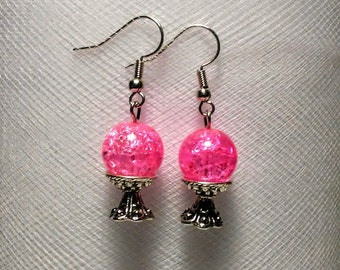 Light Pink crystal ball on a silver plated bead cap stand earrings