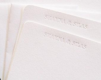Personalized Stationery Letterpress Blind Debossed