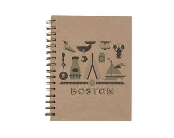 Boston Journal - Notebook | Lined Pages | Spiral Bound | Letterpress | Hard Cover