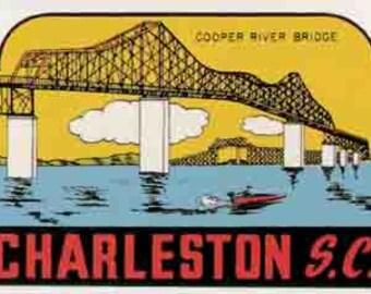 Vintage Style Charleston SC South Carolina   Travel Decal sticker