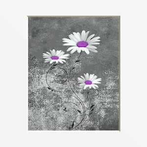 Purple Daisy Flower Prints, Purple Daisy Home Decor Wall Art Matted Picture