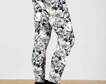 Black and Ivory Floral Skull Printed Leggings - One Size