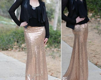 Champagne/RoseGold - Gorgeous Medium quality sequins- Long sequined skirt (S,M,L,XL) order up, runs small