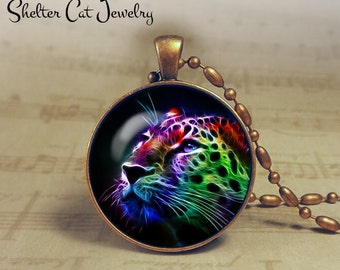 """Cheetah Necklace - 1-1/4"""" Circle Pendant or Key Ring - Handmade Wearable Photo Art Jewelry - Nature art - Big Cat in Fractals - Gift for her"""