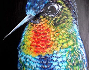Hummingbird, bird painting, hummingbird art