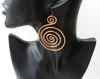 Spiral earrings wire wrapped jewelry copper wire earrings long earrings wire wrapped earrings big earrings copper wire jewelry Copper spiral