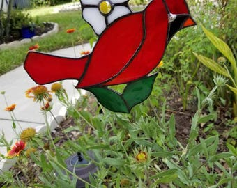 Stained Glass*Cardinal Bird,Red Bird,Suncatcher,Garden Decor,Red Cardinal,For the Porch,Mothers Day Gift,Christmas Gift for Mom,Glass Bird