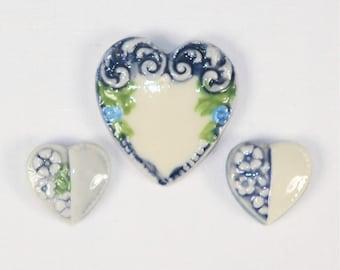 Vintage  Porcelain Heart Cabochons or Buttons-PR--43