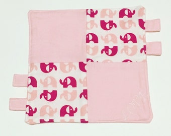 Listing For Katie...Organic Elephant Lovey: 100% GOTS Certified Organic Baby Clutching Lovey Pink Elephant Blanket