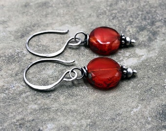 Rusted Tomato - Picasso Czech Glass and Sterling Silver Earrings