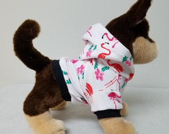 Dog Clothes Flamingo Hoodie, Chihuahua, Yorkie