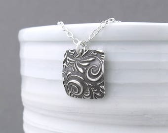 Unique Sterling Silver Necklace Pendant Silver Square Necklace Boho Necklace Holiday Gift for Her Stocking Stuffer - Unique Petite