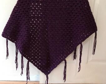 Plum Purple  Shawl / Open Poncho