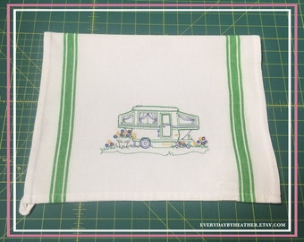 Happy Camper (Pop Up Trailer) Green Version Tea Towel | Embroidered Tea Towel | Kitchen Towel | Embroidered Towel | Hand Towel | Dish Towel
