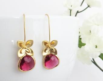 Valentines Gift, Flower Earrings, Ruby Earrings, Long Earrings, Birthday Jewelry, Gift for Wife, Bridesmaid Earrings, Wedding Jewelry