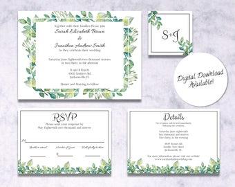 Greenery Wreath Wedding Invitation Suite