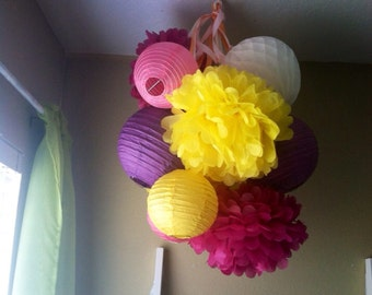 You pick COLORS-Pre-assembled 6 Paper Lanterns & Pom Pom  Mobile-