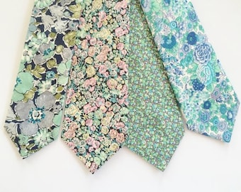 Mint Liberty of London Tie, mint floral tie, mint green men's tie, green men's tie, mint paisley tie, mint tie, green skinny tie, necktie