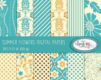 50%OFF Digital papers, digital scrapbook paper, patterned scrapbook paper, floral digital paper, commercial use, P68