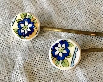 Hair Pins- Vintage Hair Pin, Bobby Pin, China Bobby Pin, Vintage Bobby Pin, Broken China Jewelry, Broken China, Hair Pin, Blue