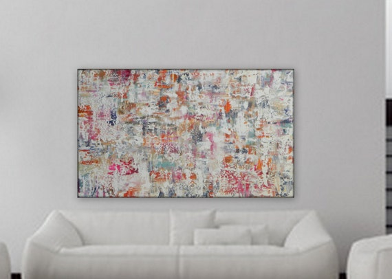 "Modern abstract original painting large abstract painting Gathering""  wall art  large wall art Gray purple, orange, white, blue painting"