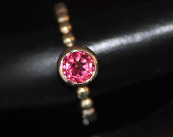 Sterling Silver Bezel Set Ring with 1 ct Blush Topaz Round Stone - OOAK Size 7