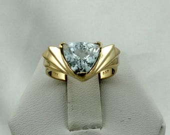 Lovely Natural Light Blue 2 Carat Trillion Cut Stunning Aquamarine 14K Yellow Gold Ring FREE SHIPPING!  #TRILLION-GR4
