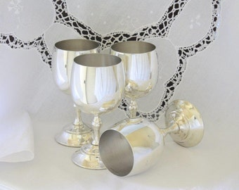 SALE - Four Vintage Silverplate Goblets ~ Wedding Goblets Wedding Toast ~ Renown Silverplate Vintage Barware ~ Available in sets of two